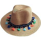 Moollyfox Verano Disquete Sombreros de Paja de Sol, Borl Playa Gorra Para Mujer Ligero Café