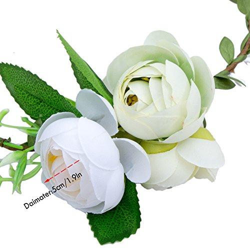 Femmes Bandeau Cheveux Floral Couronne - Bohemia Mariage Fleur Tiara( AWAYTR) Jaune + vert + blanc