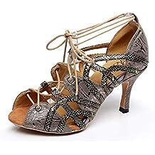 327446abc Willsego Suela de Goma Suave para Mujer Peep Toe Salsa sintética Zapatos de  Baile Latino Sandalias