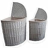 Homescapes Kleiner Wäschekorb Weide Wäschesammler mit Deckel Wäschetruhe Hamper weiß