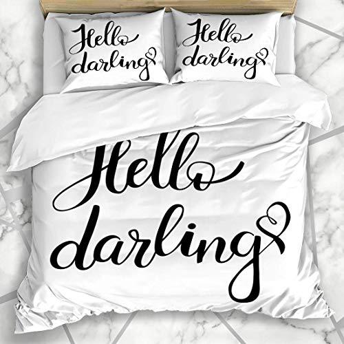 Soefipok Bettbezug-Sets Emotion Appeal Hallo Liebling Pinsel Hand Schriftzug auf Istic Rücken Schwarz Kalligraphische Draw Design Tinte Mikrofaser Bettwäsche mit 2 Pillow Shams - Tinte Sham