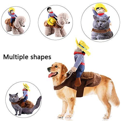 Kungfu Mall 1 STÜCK Hundekostüm Haustieranzug Cowboy Reiter Stil Halloween Pet Riding Transfiguration für Halloween Party