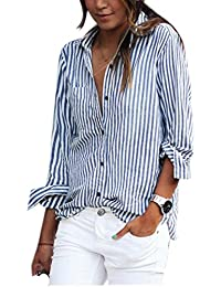 Zeagoo® Ladies Turn-down Collar Vertical Striped Casual Shirt Blouse