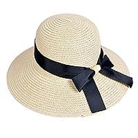 EINSKEY Ladies Sun Hat Panama Straw Hat Packable Wide Brim Summer Beach Hat Fedora Trilby Hat for Women UPF 50 2