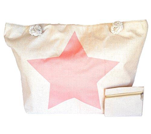 Damen Strandtasche groß XXL Shopper mit Reißverschluss + GRATIS Geldbörse,  Rosa Stern Rosa