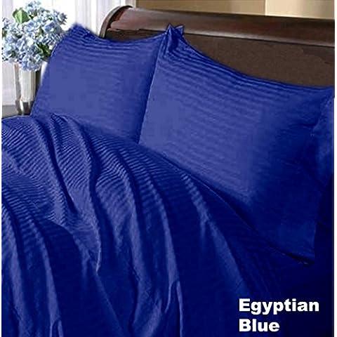Wonder Oferta Juego de 600hilos Hoja Set UK Super King orgánico rayas de color azul 100% algodón orgánico
