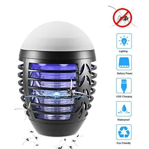 ZOTO Lampada Antizanzare, Zanzariera Elettrica con Batteria Ricaricabile USB 2200mAh, IP66 Impermeabile Lanterna Zanzare da Campeggio per Interni Esterni con Gancio a Scomparsa