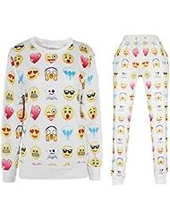 Demarkt Emoji Sweatshirt Femme Homme Combinaison Sweatshirt Pull Pantalon Impression Numérique Lâche Outwear Blanc