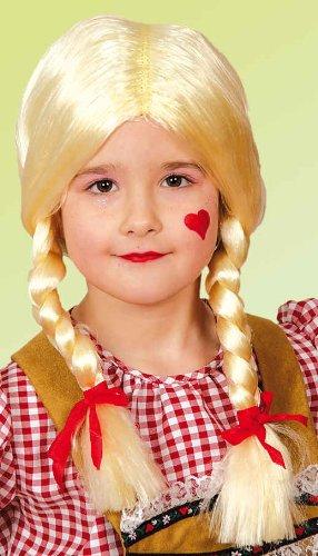Kinder Perücke Gretchen mit Zöpfen zum Kostüm an Karneval blond
