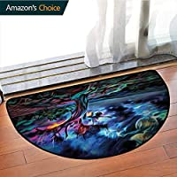 DESPKONMATS Night Sky Bathroom Semi-circular Carpet, Nocturnal Dried Branches latest technology Rug, Phthalate Free, Rugs for Office Stand Up Desk, Half Circle-