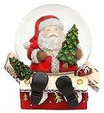 Dekohelden24 Schneekugel mit Weihnachtsmann, Maße H/B/Ø Kugel: ca. 9 x 9 cm/Ø 6,5 cm.