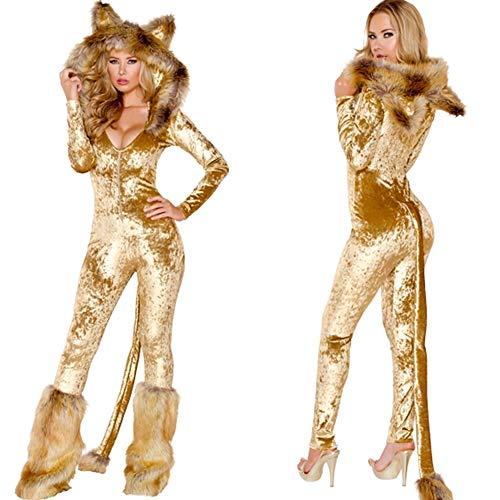 CWZJ Halloween Cosplay Kostüm Erwachsene Cosplay Sexy Uniform Cat Girl Sexy Leopard Versuchung Rolle Spielanzug Kostüm Geeignet Für Karneval Themenpartys Halloween,M