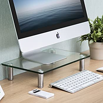 duronic dm051 r hausseur d 39 cran moniteur support en verre pour cran d 39 ordinateur. Black Bedroom Furniture Sets. Home Design Ideas