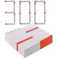 Foxom 300pcs Recargas Dardos Nerf, 7cm Espuma Suave, Fluorescencia Blanco, para NERF Juguettos