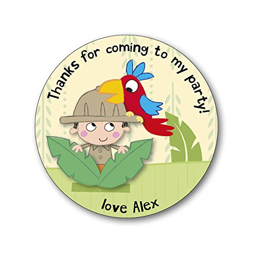 Image of 15 Personalised Party Thank You Stickers / Party Seals. Add your own name! Jungle Safari Animals