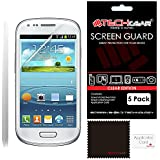 TECHGEAR® 5 Pack of Clear LCD Screen Protector Guards For The Samsung Galaxy S3 Mini i8190 with cleaning cloth