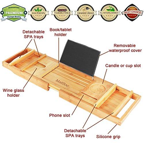 mallboo Umweltfreundlich Luxus Bambus Badewanne Tray Caddy/Organizer mit der Erweiterung Seiten und verstellbare Lesung Halterung natur