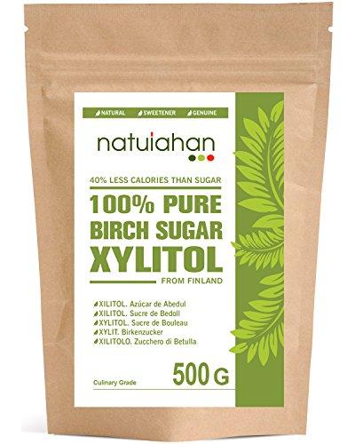 Natuiahan Xylitol 500 gr. Zucchero di Betulla dalla Finlandia. Dolcificante Naturale al 100%. Contenitore Sigillato Autosigillante