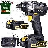 Akku-Schlagschrauber, TECCPO 180Nm Akkuschrauber 18V (2 Akkus mit 30min Schnellladegerät, Drehmoment Max 180Nm, 0-2900RPM, Spannfutter Spannbereich: 6.35mm, LED-Arbeitsleucht) - TDID01P