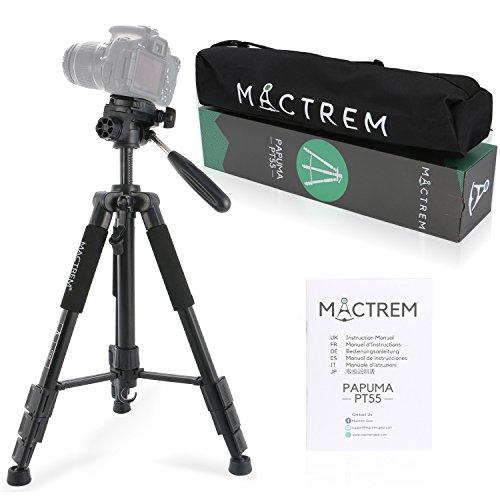 Dreibein-Kamera Stativ aus Aluminium MACTREM PT55 55-Zoll mit Schnellwechselplatte und Tragetasche für Spiegelreflex- und Videokameras von Nikon, Sony uvm(Schwarz)