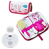 Nuvita Pflege-Set für Neugeborene Girl & CHICCO Baby´s Smell Duftwasser 100 ml ohne Alkohol 100ml ab 0 Monate// Bürste Echter Wolle inkl. Tasche