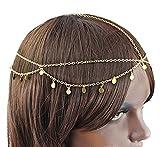 Frauen Mädchen Boho Sexy Stirnband Gliederkette Cuff Kopfstück Haarband Haarkette Kettenschmuckstirnband