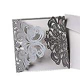 ponatia 25Pack Set Laser-Cut Einladung Karten, Spitze Einladung Kit für Hochzeit Jahrestag Brautschmuck Dusche Geburtstag mit bedruckbar Papier und Umschläge silberfarben
