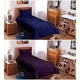 "BLENZZA DECO SUPER SAVER COMBO OF 300 TC 2 SINGLE PLAIN COTTON BEDSHEETS WITH 2 PILLOW COVERS(60""x90"")NAVY BLUE & PURPLE"