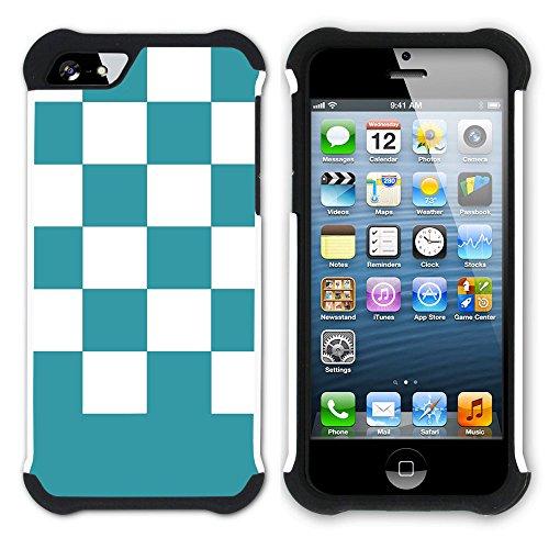 Graphic4You Kariert Muster Design Hart + Weiche Kratzfeste Hülle Case Schale Tasche Schutzhülle für Apple iPhone SE / 5 / 5S (Lila) Türkis