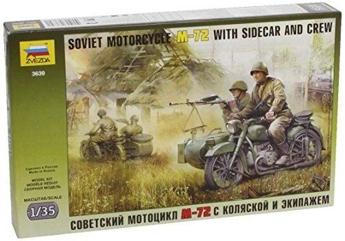Zvezda 500783639 - 1:35 WWII Sov. M-72 Seitenwagenkrad (3)