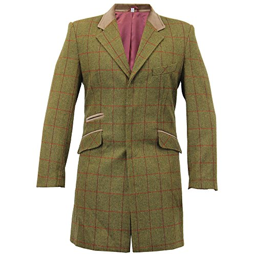 Herren Wolle Mix Slim Fit kariert Coat Herringbone Tweed Crombie Luxus Mantel Gr. X-Large, Olive Check