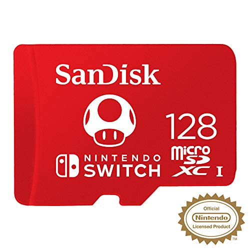 sandisk microsdxc uhs-i scheda per nintendo switch 128 gb, modello 2019, official nintendo licensed product, rosso