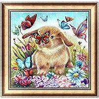 BaZhaHei de Pintura, Conejo y mariposa del 5D DIY Pintura Diamante Bordado Cruz Artesanía Puntada