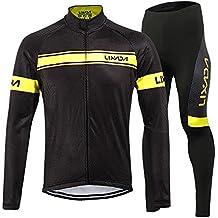 Lixada Completo Ciclismo Abbigliamento Inverno Panno Termico Set di Abbigliamento Ciclista Maniche Lunghe Antivento Ciclismo Maglia + 3D Pantalone Imbottito