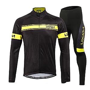 51dsCseuoiL. SS300 Lixada Set abbigliamento da ciclismo - Pile termico antivento a maniche lunghe con pantaloni imbottiti 3D per uomo
