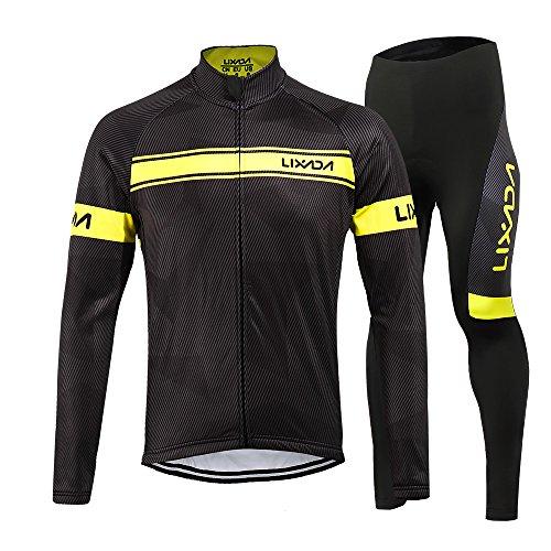 Lixada Herren Fahrradbekleidung Set Radtrikot Langarm Winddicht Herren Thermische Fleece mit 3D Polster Hosen (Gelb, L)