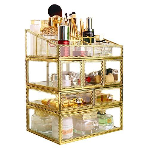 Hersoo antique 4 tiroirs Couche Coiffeuse/Clear en verre et en métal et de stockage de Cosmétique/organiseur de maquillage/Beauté Miroir Grand écran Cases (Or)