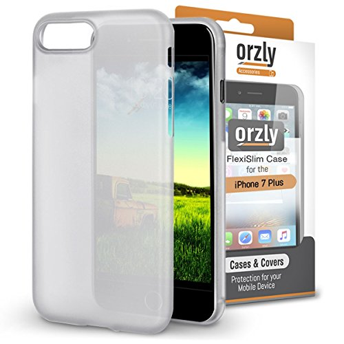 iPhone 8 Plus Case, Orzly® - Funda FlexiSlim ULTRA FINA (0,24mm) para Apple iPhone 8 Plus/iPhone 7 Plus (5,5 Pulgadas) - Funda Semi Transparente en BLANCO [Compatible con carga inalámbrica]