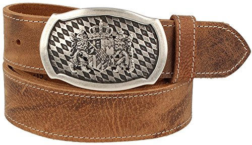 Trachtenkönig Trachtengürtel Original Unisex Bayern Wappen 100% Echtleder Handmade in Germany Kürzbar Braun (95, Schließe: Altsilber, Leder: Hellbraun (Vollrindleder))
