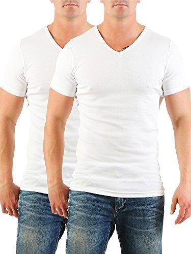 2er Pack Herren T-Shirt mit V-Ausschnitt Nr. 446/1500 Weiß-Weiß