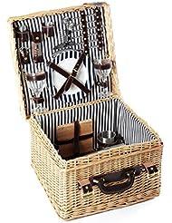 Image of Greenfield Collection (GG033) Deluxe Clarendon strisce cestino da picnic per 2 persone, salice, fodera in blu...