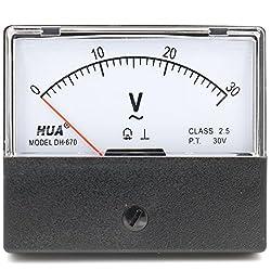 Heschen Rectangular Style Ac 0-30V Class 2.5Voltmeter Analog Panel Volt Voltage Meter 670