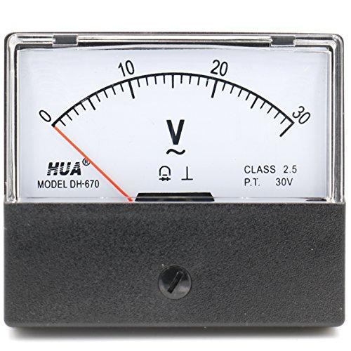 Heschen Rechteckiges Voltmeter analoges Panel Volt Spannungsmesser 670 Style AC 0-30V Klasse 2,5 Ac Voltmeter