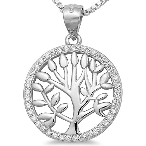 Lebensbaum Kette Baumanhänger rhodiniert - Damen Schmuck Amulett mit Collier 40 45 50 55cm Venezianerkette #1726 (55)