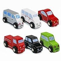Symiu Wooden ToyCars - Mini Vehicles Kids Car Set Educational Toy 6 PCS Boys Girls Age 3 4 5 Years Old