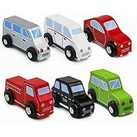 Symiu Coches de Madera Pequeños Juguetes Niños Coche Vehiculos 6 Piezas Juguete para Niños 3 4 5
