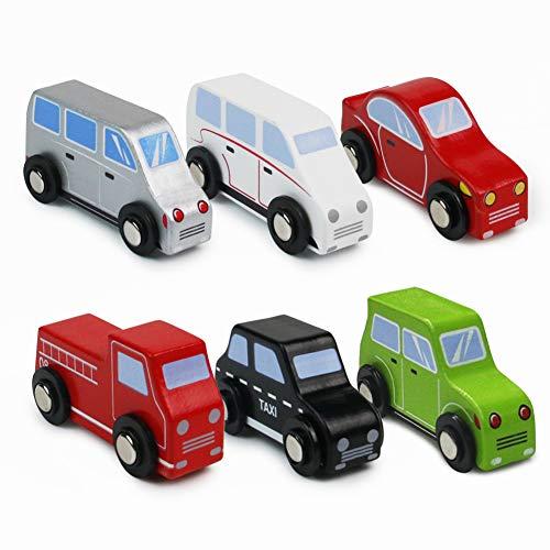 aus Holz Fahrzeug Holzspielzeug Modellauto Holzauto Spielzeug Geburtstagsgeschenk für Kinder Junge Mädchen ab 3 4 5 Jahre (MEHRWEG) ()