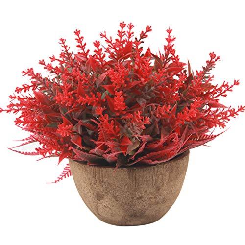 6SlonHy Schöne künstliche Blume Nicht verblassen Pflanze Gras papierzellstoff Topf Bonsai Garten Home Party Decor 1 stück für Hochzeiten 、 speichert, etc. rot Regulär