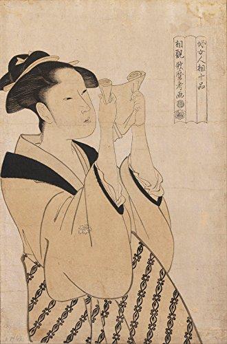Spiffing Prints Kitagawa Utamaro - Reading a Scroll - Medium - Matte - Black Frame -