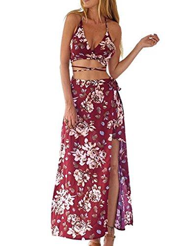 CRAVOG Sexy elegant damen kleider sommer V Hals Ärmellos Rückenfrei Bandage Halfter und Blumen Irregulär Saum Lange Rock Set Rot